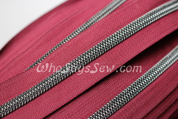 (#5) *SIZE 5* Zipper Tape Only- 1m Gunmetal  Metallic Nylon Chain/Continuous Zip on Wine TAPE