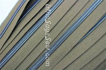 (#5) *SIZE 5* Zipper Tape Only- 1m Gunmetal  Metallic Nylon Chain/Continuous Zip on Seaweed TAPE
