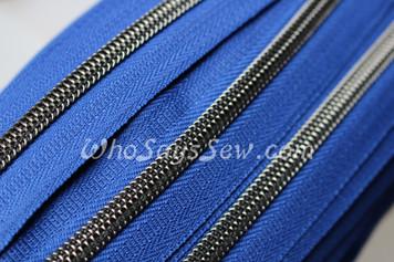 (#5) *SIZE 5* Zipper Tape Only- 1m Gunmetal  Metallic Nylon Chain/Continuous Zip on Royal Blue TAPE