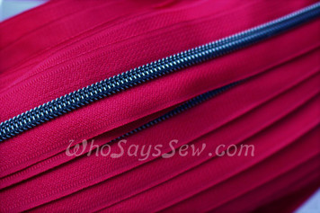 (#5) *SIZE 5* Zipper Tape Only- 1m Gunmetal  Metallic Nylon Chain/Continuous Zip on Cranberry TAPE