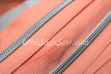 (#5) *SIZE 5* Zipper Tape Only- 1m Silver Metallic Nylon Chain/Continuous Zip on Peach TAPE