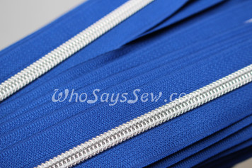 (#5) *SIZE 5* Zipper Tape Only- 1m Silver Metallic Nylon Chain/Continuous Zip on Royal Blue TAPE