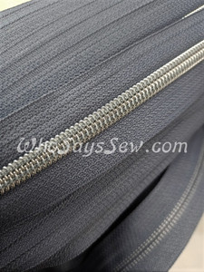 (#5) *SIZE 5* Zipper Tape Only- 1m Silver Metallic Nylon Chain/Continuous Zip on Steel Grey TAPE