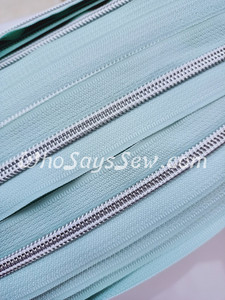 (#5) *SIZE 5* Zipper Tape Only- 1m Silver Metallic Nylon Chain/Continuous Zip on Cool Mint TAPE