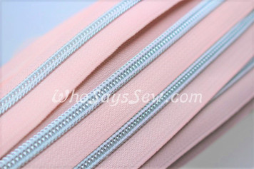 (#5) *SIZE 5* Zipper Tape Only- 1m Silver Metallic Nylon Chain/Continuous Zip on Pale Pink TAPE