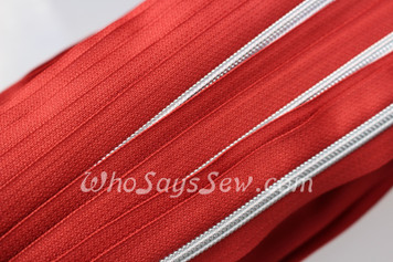 (#5) *SIZE 5* Zipper Tape Only- 1m Silver Metallic Nylon Chain/Continuous Zip on Burnt Orange TAPE