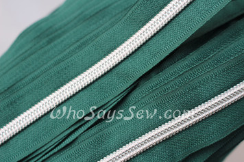 (#5) *SIZE 5* Zipper Tape Only- 1m Silver Metallic Nylon Chain/Continuous Zip on Dark Green TAPE
