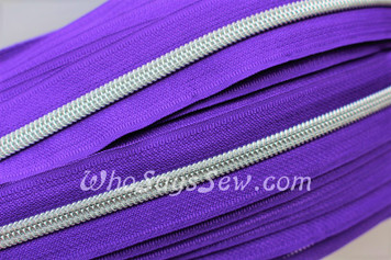 (#5) *SIZE 5* Zipper Tape Only- 1m Silver Metallic Nylon Chain/Continuous Zip on Bright Purple TAPE