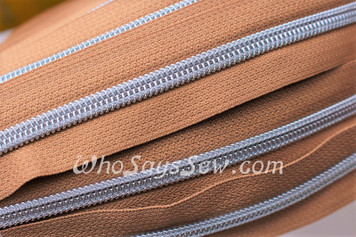 (#5) *SIZE 5* Zipper Tape Only- 1m Silver Metallic Nylon Chain/Continuous Zip on Medium Tan TAPE