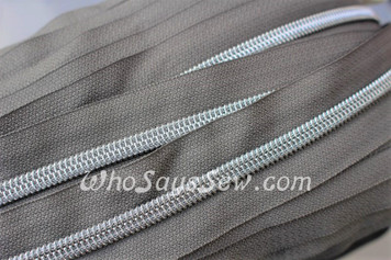 (#5) *SIZE 5* Zipper Tape Only- 1m Silver Metallic Nylon Chain/Continuous Zip on Medium Grey TAPE