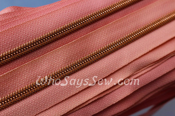 (#5) *SIZE 5* Zipper Tape Only- 1m Rose Gold Metallic Nylon Chain/Continuous Zip on Living Coral TAPE