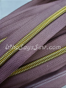 (#5) *SIZE 5* Zipper Tape Only- 1m Gold Metallic Nylon Chain/Continuous Zip on Dark Dusty Pink TAPE