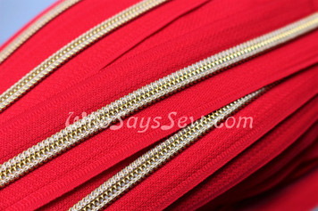 (#5) *SIZE 5* Zipper Tape Only- 1m Gold Metallic Nylon Chain/Continuous Zip on Hot Red TAPE