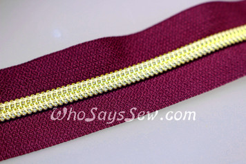 (#5) *SIZE 5* Zipper Tape Only- 1m Gold Metallic Nylon Chain/Continuous Zip on Dark Wine TAPE