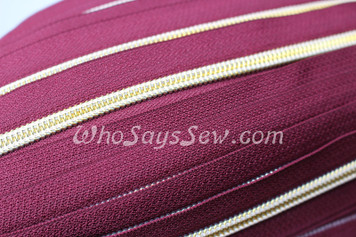 (#5) *SIZE 5* Zipper Tape Only- 1m Gold Metallic Nylon Chain/Continuous Zip on Eggplant Purple TAPE