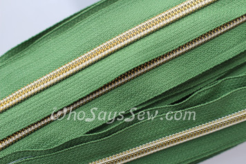 (#5) *SIZE 5* Zipper Tape Only- 1m Gold Metallic Nylon Chain/Continuous Zip on Bright Olive Green TAPE
