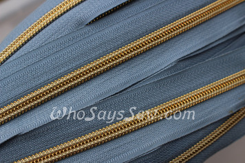 (#5) *SIZE 5* Zipper Tape Only- 1m Gold Metallic Nylon Chain/Continuous Zip on Grey Sky  TAPE