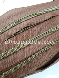 (#5) *SIZE 5* Zipper Tape Only- 1m Antique Brass Metallic Nylon Chain/Continuous Zip on Coffee TAPE