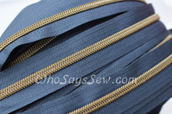 (#5) *SIZE 5* Zipper Tape Only- 1m Antique Brass Metallic Nylon Chain/Continuous Zip on Light Navy TAPE