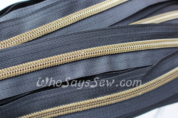 (#5) *SIZE 5* Zipper Tape Only- 1m Antique Brass Metallic Nylon Chain/Continuous Zip on Dark Navy TAPE