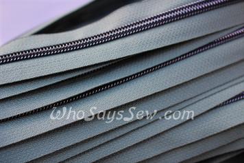 (#5) *SIZE 5* Zipper Tape Only- 1m Gunmetal  Metallic Nylon Chain/Continuous Zip on Artichoke Green TAPE