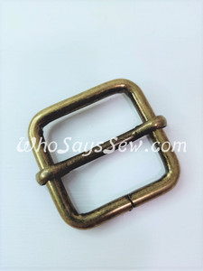 "2.5cm(1"") Thick Wire  Adjustable Strap Sliders in Antique Brass. Tall 2.5cm(1"") Internal Height. Nickel Free"