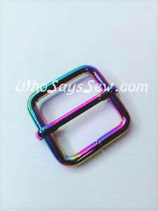 "2.5cm(1"") Thick Wire  Adjustable Strap Sliders in Rainbow Iridescent. Tall 2.5cm(1"") Internal Height. Nickel Free"