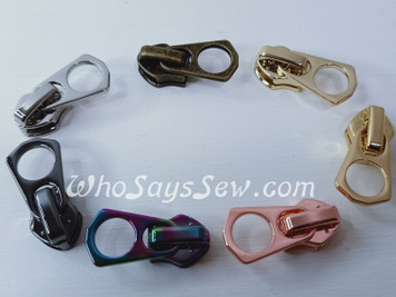 "(#5) *Size 5* 4 ZIPPER SLIDERS/PULLS for Continuous  Nylon Chain Zipper- ""Destiny"". 7 Finishes. Nickel Free."