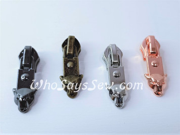 "(#5) *Size 5* 4 ZIPPER SLIDERS/PULLS for Continuous Nylon Chain Zipper- ""Beast"". 4 Finishes. Nickel Free."