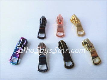 (#3) 4x ZIPPER SLIDERS/PULLS for Continuous SIZE 3 Nylon Chain Zipper- Curved with Cutout. 7 Finishes. Nickel Free.