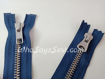 "SET of YKK Size 5 Separating/Open-Ended Zipper and 2 Closed-Ended Pocket Zippers with SILVER Brass Metal Teeth. Medium Weight for Jackets. 3 Colours.  25cm (10"") to 70cm (27.6"")"