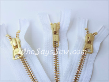 "SET of YKK Size 5 Separating/Open-Ended Zipper and 2 Closed-Ended Pocket Zippers with GOLDEN Brass Metal Teeth. Medium Weight for Jackets. 3 Colours. 25CM (10"") TO 70CM (27.6"")"