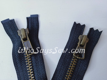 "SET of YKK Size 5 Separating/Open-Ended Zipper and 2 Closed-Ended Pocket Zippers with ANTIQUE Brass Metal Teeth. Medium Weight for Jackets. 3 Colours. 25CM (10"") TO 70CM (27.6"")"