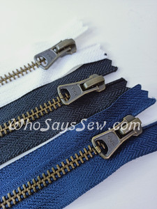 "#5 15cm(6"") YKK Closed-Ended Antique Brass Metal Zipper with Trapezoid Pull."