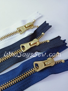 "#5 15cm(6"") YKK Closed-Ended Golden Brass Metal Zipper with Trapezoid Pull."