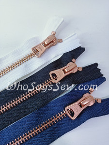 "#5 15cm(6"") YKK Closed-Ended Matte Rose Gold//Copper Metal Zipper with Trapezoid Pull."