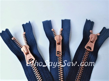 "SET of YKK Size 5 Separating/Open-Ended Zipper and 2 Closed-Ended Pocket Zippers Matte Rose Gold/Copper Metal Teeth. Medium Weight for Jackets. 3 Colours.  25cm (10"") to 70cm (27.6"")"