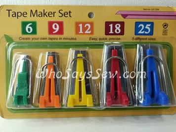 Bias Tape Maker Set- 5 Sizes 6mm, 9mm, 12mm, 18mm, 25mm Included