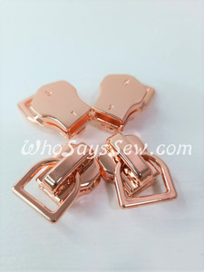 (#5) *Size 5* 4 ZIPPER SLIDERS/PULLS for Continuous SIZE 5 METAL TEETH Chain Zipper- Mini-D. Rose Gold Only. Nickel Free.