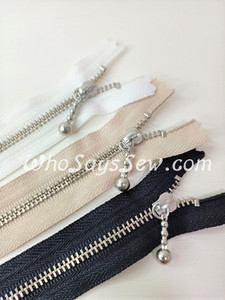 "BULK LOT of 10 Zippers x 15cm(6"") YKK Closed-Ended Silver Brass Metal Zipper with Ball-chain Pull."