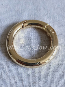 """26mm (1"""") Round Edge Gate/Spring Rings in Real Gold"""