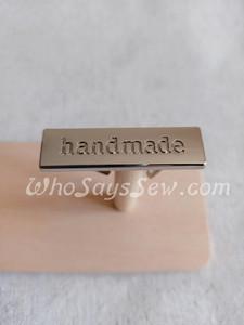 """""""Handmade"""" Metal Label in Nickel/Silver"""
