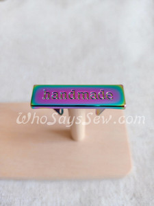 """Handmade"" Metal Label in Rainbow Iridescent"