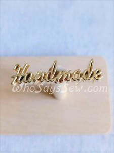 "Script Style ""Handmade"" Metal Label in Real Gold"