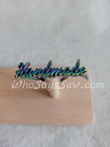 "Script Style ""Handmade"" Metal Label in Rainbow Iridescent"
