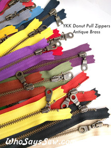 """*CHOOSE 20 ZIPPERS IN 5 COLOURS* 20cm/25cm/30cm (8""""/10""""/12"""")YKK Closed-Ended Antique Brass Metal Zipper with Donut Pull. Nickel Free"""