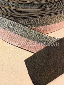 """4cm (1.5"""") Wide SUPER Soft Silver and Dusty Pink DUO-STRIPE on Black Sparkly Waistband Elastic- By the Metre"""