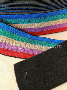 """4cm (1.5"""") Wide SUPER Soft Bright Rainbow Stripes  on Black Sparkly Waistband Elastic- By the Metre"""