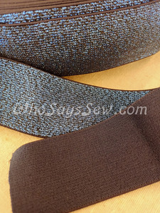 """4cm (1.5"""") Wide SUPER Soft Midnight Blue on Black Sparkly Waistband Elastic- By the Metre"""