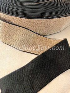 """4cm (1.5"""") Wide SUPER Soft Gold on Black Sparkly Waistband Elastic- By the Metre"""